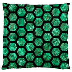 Hexagon2 Black Marble & Green Marble Standard Flano Cushion Case (two Sides) by trendistuff