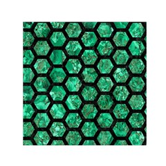 Hexagon2 Black Marble & Green Marble Small Satin Scarf (square) by trendistuff