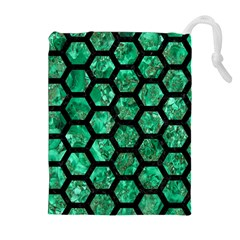 Hexagon2 Black Marble & Green Marble Drawstring Pouch (xl) by trendistuff
