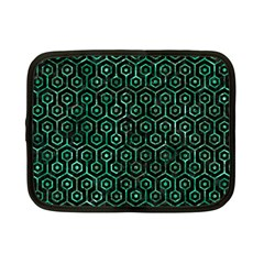 Hexagon1 Black Marble & Green Marble (r) Netbook Case (small) by trendistuff