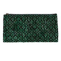Hexagon1 Black Marble & Green Marble (r) Pencil Case by trendistuff