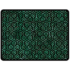 Hexagon1 Black Marble & Green Marble (r) Fleece Blanket (large) by trendistuff