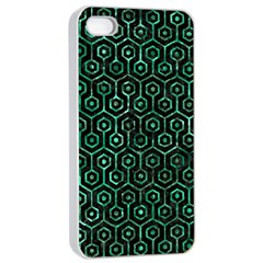 Hexagon1 Black Marble & Green Marble (r) Apple Iphone 4/4s Seamless Case (white) by trendistuff