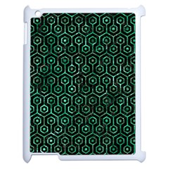 Hexagon1 Black Marble & Green Marble (r) Apple Ipad 2 Case (white) by trendistuff