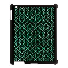 Hexagon1 Black Marble & Green Marble (r) Apple Ipad 3/4 Case (black) by trendistuff