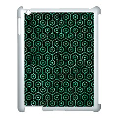 Hexagon1 Black Marble & Green Marble (r) Apple Ipad 3/4 Case (white) by trendistuff