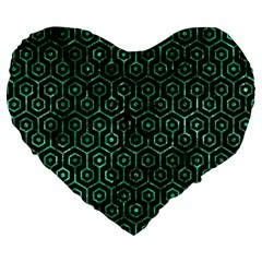 Hexagon1 Black Marble & Green Marble (r) Large 19  Premium Flano Heart Shape Cushion