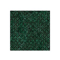 Hexagon1 Black Marble & Green Marble (r) Satin Bandana Scarf by trendistuff
