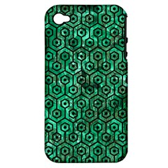 Hexagon1 Black Marble & Green Marble Apple Iphone 4/4s Hardshell Case (pc+silicone) by trendistuff