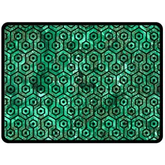 Hexagon1 Black Marble & Green Marble Double Sided Fleece Blanket (large) by trendistuff