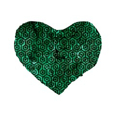 Hexagon1 Black Marble & Green Marble Standard 16  Premium Flano Heart Shape Cushion  by trendistuff