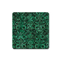 Damask2 Black Marble & Green Marble (r) Magnet (square) by trendistuff