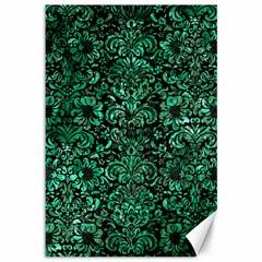 Damask2 Black Marble & Green Marble (r) Canvas 12  X 18  by trendistuff