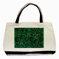 Damask2 Black Marble & Green Marble (r) Basic Tote Bag (two Sides) by trendistuff