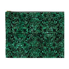Damask2 Black Marble & Green Marble (r) Cosmetic Bag (xl) by trendistuff
