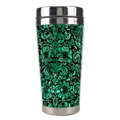 Damask2 Black Marble & Green Marble (r) Stainless Steel Travel Tumbler by trendistuff