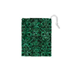 Damask2 Black Marble & Green Marble (r) Drawstring Pouch (xs) by trendistuff