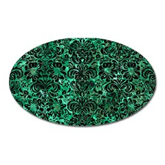Damask2 Black Marble & Green Marble Magnet (oval) by trendistuff