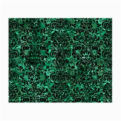 Damask2 Black Marble & Green Marble Small Glasses Cloth (2 Sides) by trendistuff