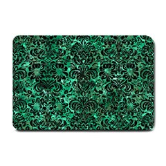 Damask2 Black Marble & Green Marble Small Doormat by trendistuff