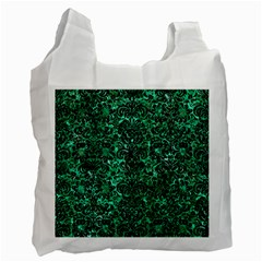 Damask2 Black Marble & Green Marble Recycle Bag (two Side) by trendistuff