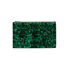 Damask2 Black Marble & Green Marble Cosmetic Bag (small) by trendistuff