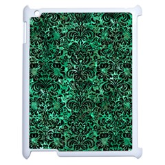 Damask2 Black Marble & Green Marble Apple Ipad 2 Case (white) by trendistuff