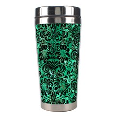 Damask2 Black Marble & Green Marble Stainless Steel Travel Tumbler by trendistuff