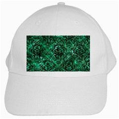 Damask1 Black Marble & Green Marble (r) White Cap by trendistuff