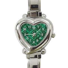 Damask1 Black Marble & Green Marble (r) Heart Italian Charm Watch by trendistuff
