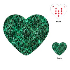 Damask1 Black Marble & Green Marble (r) Playing Cards (heart) by trendistuff