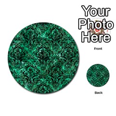 Damask1 Black Marble & Green Marble (r) Multi Purpose Cards (round) by trendistuff