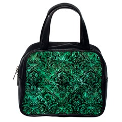 Damask1 Black Marble & Green Marble (r) Classic Handbag (one Side) by trendistuff