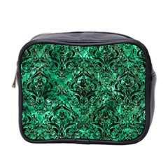 Damask1 Black Marble & Green Marble (r) Mini Toiletries Bag (two Sides) by trendistuff