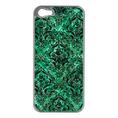 Damask1 Black Marble & Green Marble (r) Apple Iphone 5 Case (silver) by trendistuff