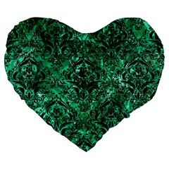 Damask1 Black Marble & Green Marble (r) Large 19  Premium Heart Shape Cushion by trendistuff