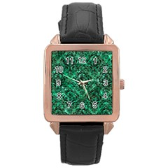 Damask1 Black Marble & Green Marble (r) Rose Gold Leather Watch  by trendistuff
