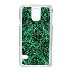 Damask1 Black Marble & Green Marble (r) Samsung Galaxy S5 Case (white) by trendistuff