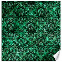 Damask1 Black Marble & Green Marble Canvas 16  X 16  by trendistuff