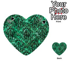 Damask1 Black Marble & Green Marble Playing Cards 54 (heart) by trendistuff