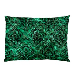 Damask1 Black Marble & Green Marble Pillow Case by trendistuff