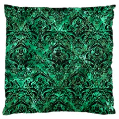 Damask1 Black Marble & Green Marble Standard Flano Cushion Case (two Sides)