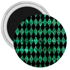 Diamond1 Black Marble & Green Marble 3  Magnet by trendistuff