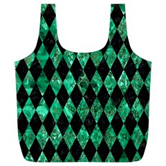Diamond1 Black Marble & Green Marble Full Print Recycle Bag (xl) by trendistuff