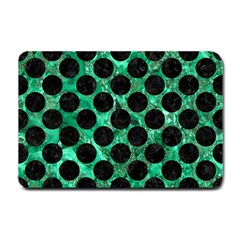 Circles2 Black Marble & Green Marble Small Doormat by trendistuff