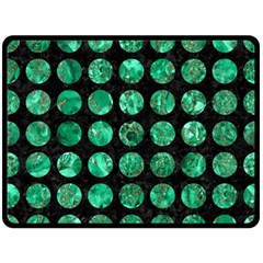 Circles1 Black Marble & Green Marble (r) Fleece Blanket (large)