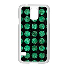 Circles1 Black Marble & Green Marble (r) Samsung Galaxy S5 Case (white) by trendistuff