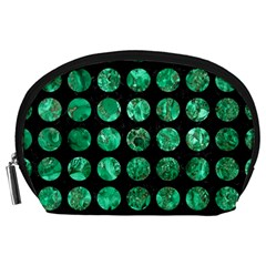 Circles1 Black Marble & Green Marble (r) Accessory Pouch (large) by trendistuff