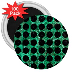 Circles1 Black Marble & Green Marble 3  Magnet (100 Pack) by trendistuff