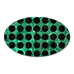 Circles1 Black Marble & Green Marble Magnet (oval) by trendistuff
